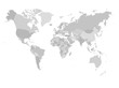 World map in four shades of grey on white background. High detail political map with country names. Vector illustration