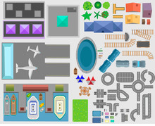 Set Of Landscape Elements. Trees, Houses, Plants, Tables, Chairs, Benches, Sunbeds, Umbrellas, Paths.