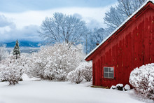 Red Barn During Winter With Snow, Stowe, Vermont, USA