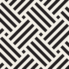 Vector Seamless Pattern. Geometric Striped Woven Stripes Ornament. Monochrome Intersecting Lines Background Design.