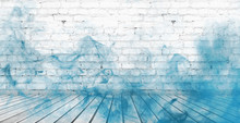 Background Of Empty White Brick Old Wall, Wooden Floor, Blue Smoke