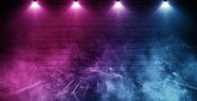 Background Of Empty Brick Old Wall, Wooden Floor, Spotlight, Neon Light, Smoke