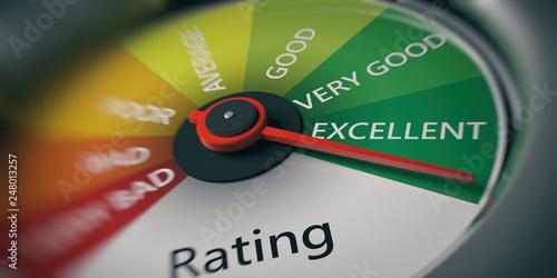 Fotografie, Obraz  Car speedometer, excellent rating close up. 3d illustrationn