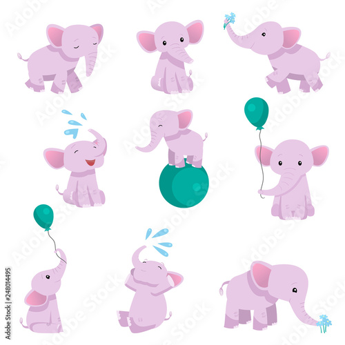 Photo Collection of Lovely Baby Elephant Pink Animal Character in Different Poses Vect