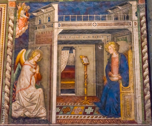 Photo Ghirlandaio Virgin Fresco Annunciation Santa Maria Novella Church Florence Italy