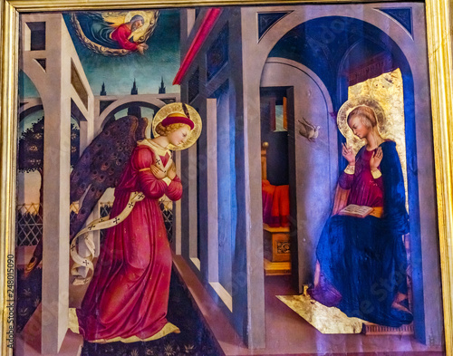 Photo Annunciation Angel Mary Painting Santa Maria Novella Church Florence Italy