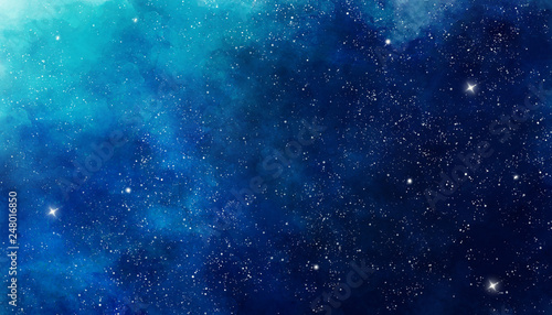 Blue watercolor space background. Illustration painting