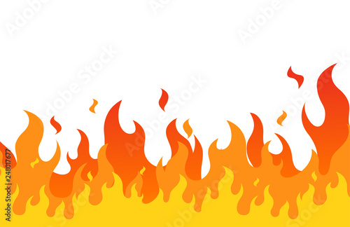 Fire flame flat cartoon style. vector illustration.Print