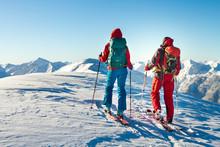 Man And Woman Ski Tourer Enjoy...