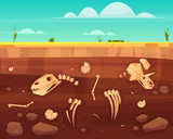 Fototapeta Dinusie - Dinosaurs skulls, reptile skeleton bones, ancient sea molluscs shells in soil deep layers cross section cartoon vector illustration. History of life on Earth concept. Paleontology science background