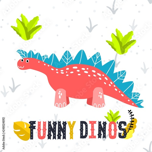 Canvas Prints Dinosaurs Adorable little dinosaur vector illustration for kids fashion, funny dino in cartoon style. Ideal for cards, invitations, party, banners, kindergarten, baby shower, preschool and children room