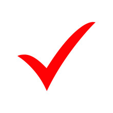 Red Check Mark Icon. Tick Symbol, Tick Icon Vector Illustration.
