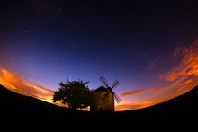 Moravian Windmill At Dusk , Rolling Hill Of Moravia, Sunset Red Sky