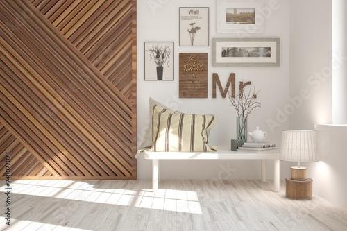 White stylish minimalist room with home decor Canvas-taulu