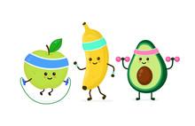 Cute Smiling Happy Strong Avocado