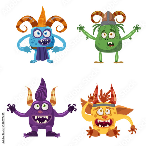 Photo  Set of cute funny characters troll, bigfoot, yeti, imp, with different emotions,