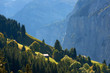 Impressive mountain scenery with rural view at foreground in Lauterbrunnen valley in Switzerland.