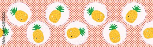 Cute Pineapple Polka Dot Vector Illustration Seamless