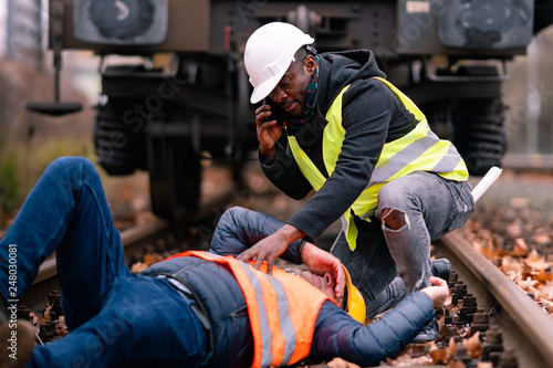 Valokuva  Railroad engineer injured in an accident at work