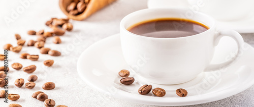Foto op Plexiglas koffiebar Concept of morning coffee, coffee break on a light background.