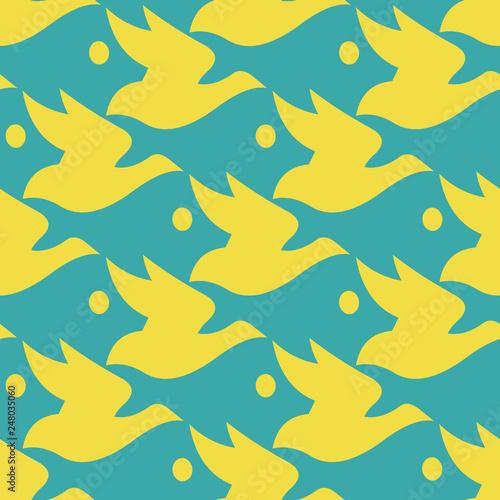 Fototapeten Künstlich Vector pattern blue and yellow silhouette bird and fish seamless background in Escher style.