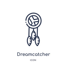 Dreamcatcher Icon From Museum Outline Collection. Thin Line Dreamcatcher Icon Isolated On White Background.