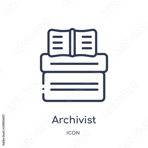 Photo archivist icon from museum outline collection