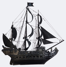 Black Pirate Ship Of The Eighteenth Century With Guns On White Background