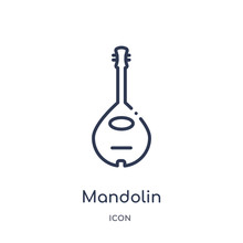 Mandolin Icon From Music Outline Collection. Thin Line Mandolin Icon Isolated On White Background.