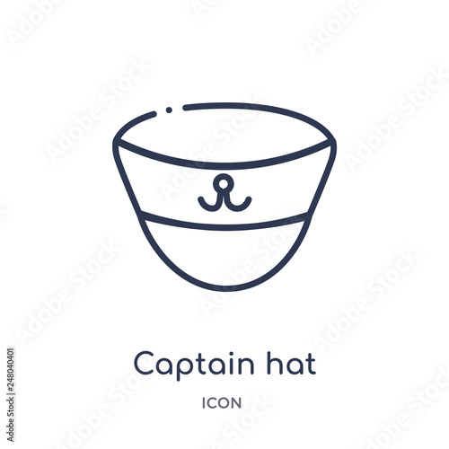 aa26393c5 captain hat icon from nautical outline collection. Thin line captain ...
