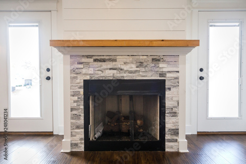 Modern Open Spacious Living Room With Tiled Fireplace And Custom Mantle And Dark Wood Floors Buy This Stock Photo And Explore Similar Images At Adobe Stock Adobe Stock