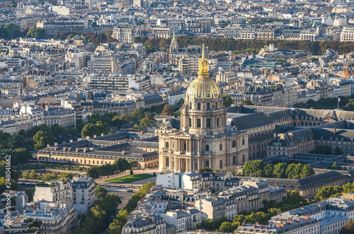 Aerial view of Notre dam taken from Montparnasse Tower in Paris, France Wallpaper Mural