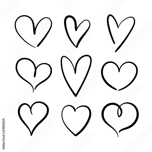Fotografie, Obraz  Vector set of hand drawn hearts on a white background.