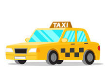 Yellow Taxi Car On A White Background.