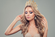 Beautiful Young Woman With Makeup, Long Curly Hairstyle, Gold Jewelry Crown, Fashion Portrait