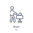 buyer icon from payment methods outline collection. Thin line buyer icon isolated on white background.