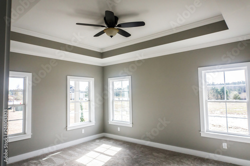 Modern new Construction Master bedroom with Tray ceiling and ...