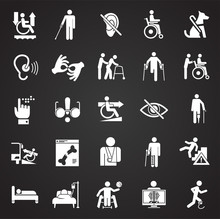 Disability Icons Set On Black Background For Graphic And Web Design, Modern Simple Vector Sign. Internet Concept. Trendy Symbol For Website Design Web Button Or Mobile App