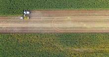 Corn Harvesting In Europe Birds Eye View Of Combine Harvester