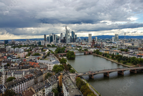 Aluminium Prints Paris Summer panorama of the financial district in Frankfurt, Germany