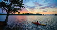 Female Kayaker On Lake Keowee ...