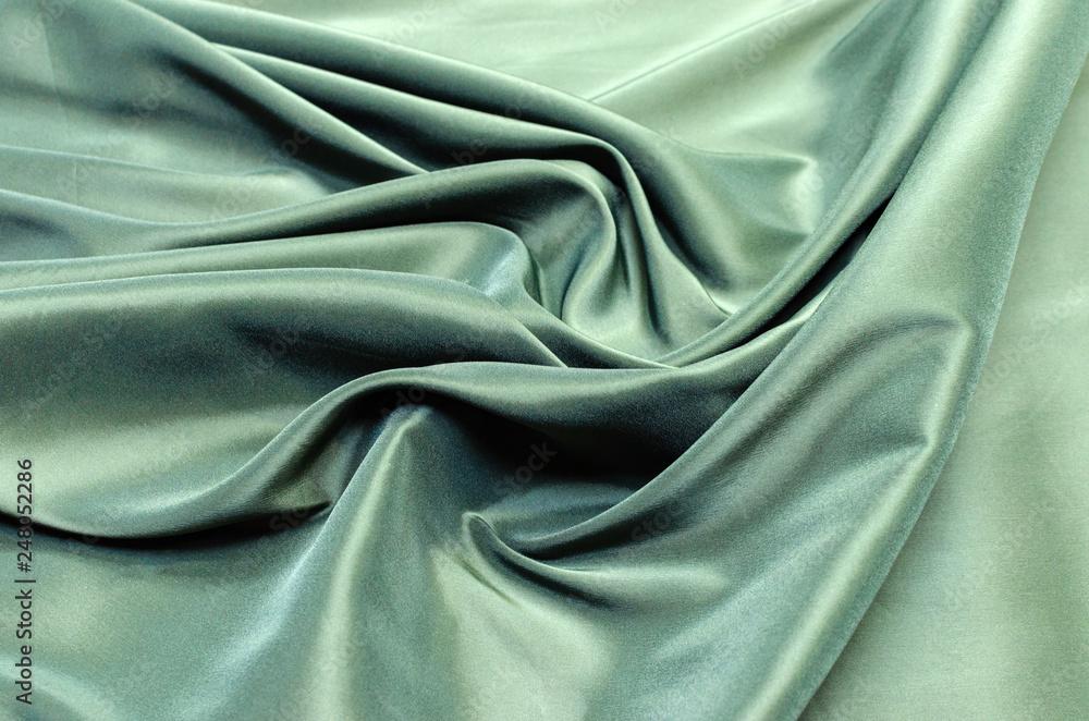 Fototapety, obrazy: Dark green lining fabric from viscose, acetate and elastane