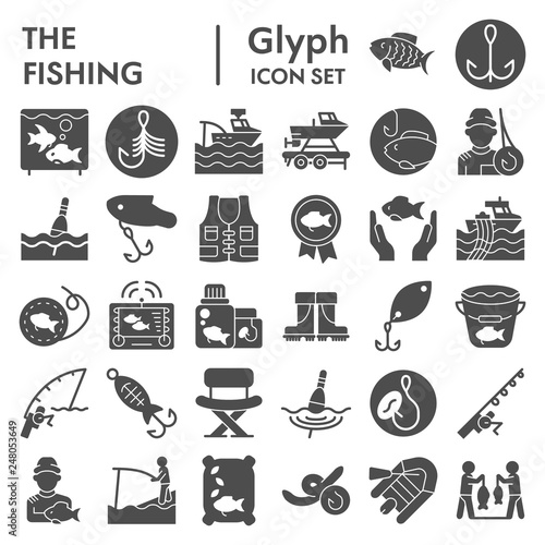 Fotografie, Obraz  Fishing glyph icon set, fisher symbols collection, vector sketches, logo illustrations, angler signs solid pictograms package isolated on white background, eps 10
