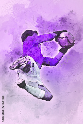 Photo  Watercolor soccer goalie diving for the ball with copy space