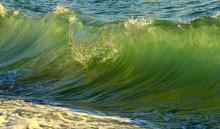 Sea Wave Runs Ashore. Seascape...