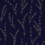 Seamless pattern of lavender flowers on a black background. Pattern with Lavender for fabric swatch. Vector illustration. - 248057413