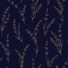 Seamless Pattern Of Lavender Flowers On A Black Background. Pattern With Lavender For Fabric Swatch. Vector Illustration.