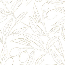 Seamless Olive Pattern On The White Background. Vector Illustration.