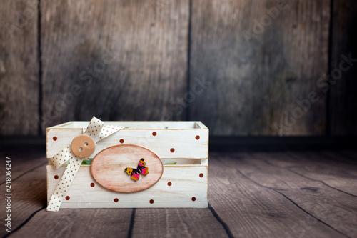 Fotografia  Handmade, wooden box on the wooden background