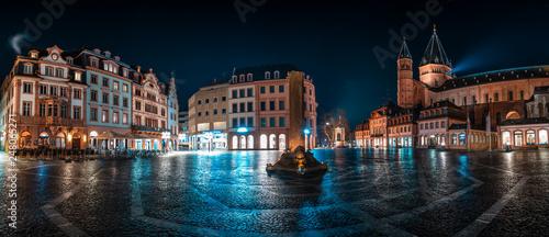 Fotografie, Obraz  Panorama Mainzer Marktplatz mit Dom und Markthäusern